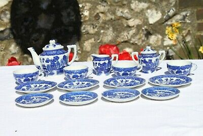 RARE Antique Miniature China Tea Set: Blue and White Willow Pattern 1920s
