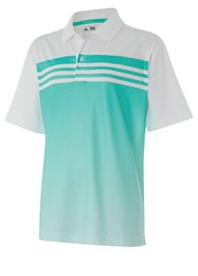 ADIDAS Boys White & Green Climacool 3 Stripes Gradient Golf Polo Shirt 14 Years