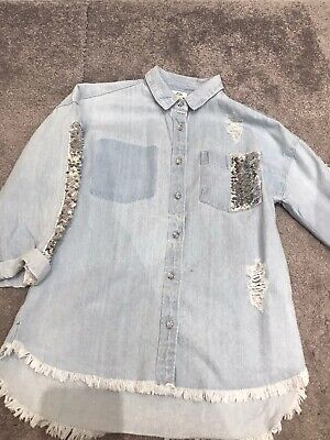 Girls River Island Denim Shirt Age 7-8 Years