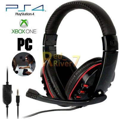 3.5mm Stereo Gaming Headset MIC LED Headphones for PC Mac Laptop PS4 Xbox One