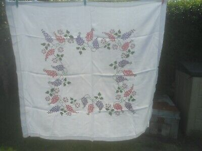 """A Very Pretty White Rayon Hand Embroidered Tablecloth 41"""" X 38"""""""