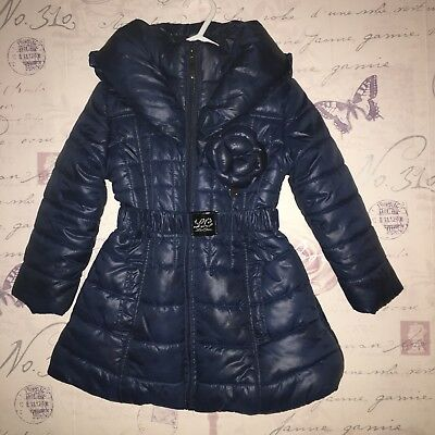 Le Chic Baby Girl Navy Blue Shiny Warm Coat Jacket Padded Dress 1 2 18 24 Months