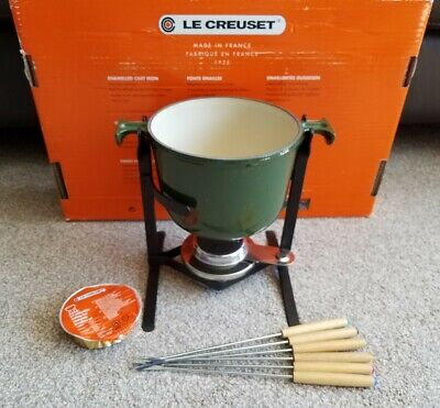 Le Creuset Fondue Set: Green Used Once Excellent Condition With Six Forks & fuel