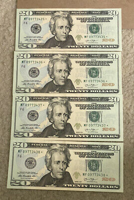 4 Uncirculated $20 Bill Star Not 2013 Consecutive Serial Number