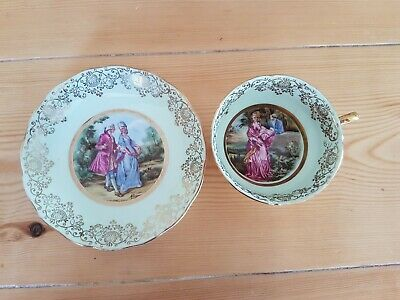 Vintage ASHLEY Fine Bone China, 22 ct gold, Courting Couple Tea Cup And Saucer.