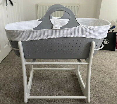 * Moba Tommee Tippee Moses Basket With Stand,  Mattress & Fitted Sheet Vgc *