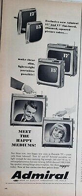 """Lot of 3 Vintage 1960's Admiral TV Print Ads 19"""" Portables Happy Mediums"""