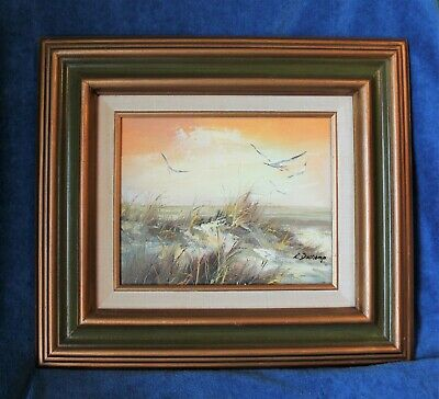 "Vintage Seashore Framed 8X10"" Oil(?) Painting Signed L. Duchamp"