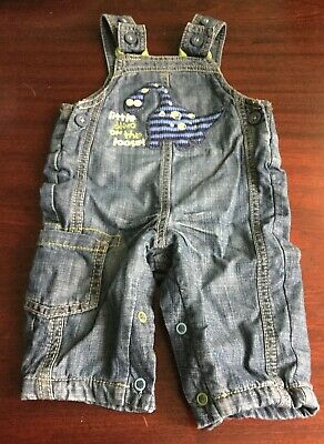 0-3 months MARKS & SPENCER DENIM DINOSAUR DUNGAREES with POPPERS 100% Cotton