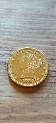 1880 $5 Gold Half Eagle Coin