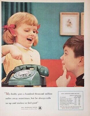 Lot 3 Vintage 1960's Bell Telephone Long Distance Print Ads