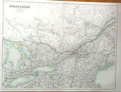 Two Large Antique Maps Of Ontario And Quebec, 1898 & 1905