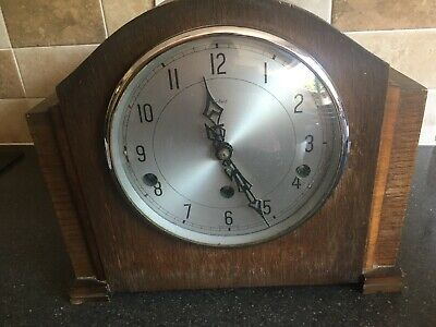 Enfield Chiming Mantel Clock Working With Key Ideal To Renovate Approx 1949