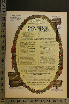 1907Christmas Holiday Wreath United States Minute Safety Razor Adrian Advertvg54