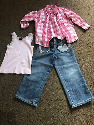 Girls Next Outfit Set Bundle Age 3 Jeans Shirt Vest Pink