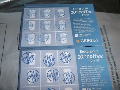 Greggs coffee voucher cards completed x 15 Dated till end of 2020 only 33p each