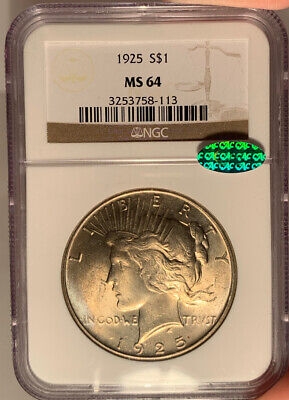 1925 $1 NGC MS 64 CAC Peace Silver Dollar