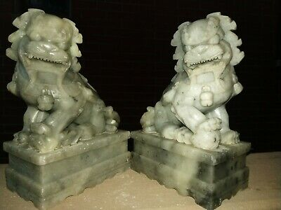Antique Pair Of Chinese Export Fine Carved Soapstone Foo Dog Bookends