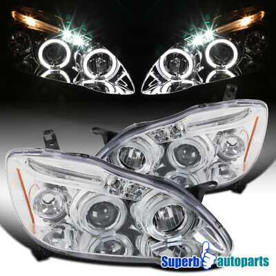 For 2003-2008 Toyota Corolla LED Halo Projector Headlights Lamps Replacement