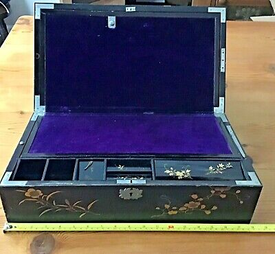 "Vintage 18"" ASIAN LAP DESK Hand Painted Scenes, Purple Interior, Secret Drawer"