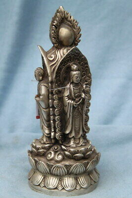 Collectable Noble Rare Miao Silver Carved Three Sides Buddhism Exquisite Statue