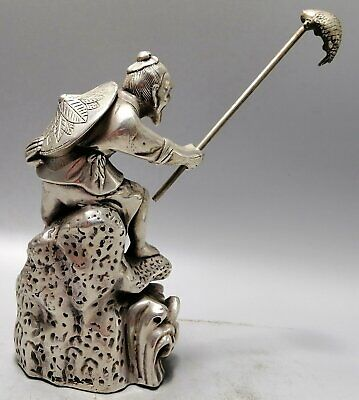 Collectable Handwork Unique Miao Silver Carved Old Man Angling Exquisite Statue