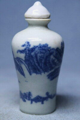 Ancient Porcelain Painting Landscape Auspicious Beautiful Elegant Snuff Bottles