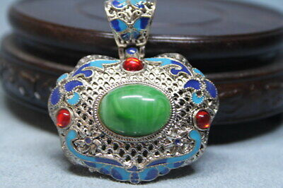 Collectable Ancient Rare Handwork Miao Silver Inlay Gem Auspicious Noble Pendant
