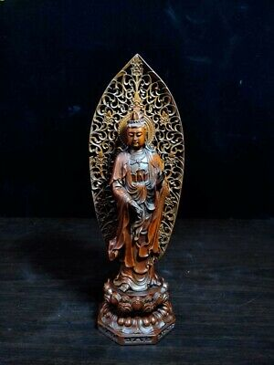 Collectable Ancient Rare Boxwood Carved Guanyin Wearing Necklace Precious Statue