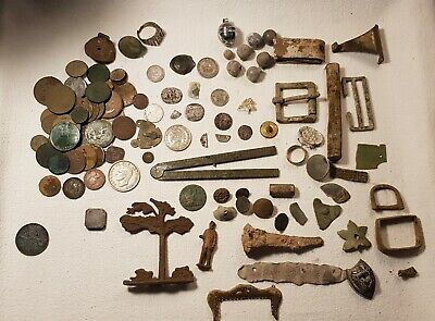 Metal detector Finds Artifacts Silver Coins