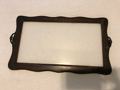 Antique Wooden Butler Serving Tray with Brass Handles and Glass Inset