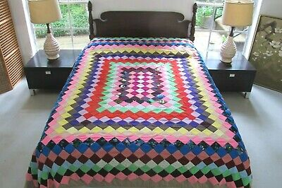Vintage Textured Polyester PHILADELPHIA PAVEMENT Quilt Top & MAKESHIFT Bedspread