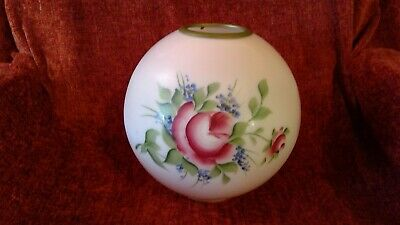 Vintage Glass Ball Shade Globe Oil Lamp Hand Painted Flowers