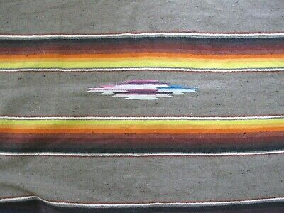 "Vintage Wool Beautiful Colors Mexican SALTILLO RAINBOW SERAPE Blanket, 58"" x 25"""