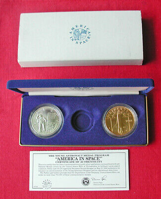 1988 America in Space silver & bronze medallion set - box & COA