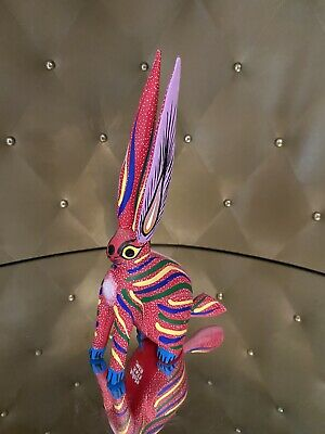 Mexican Oaxacan Folk Art Carved Wood Rabbit By Aurora Sosa Sosa