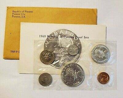 1969 Panama 6 Coin Proof Set with 1/2 & 1 Silver Balboas Original Package