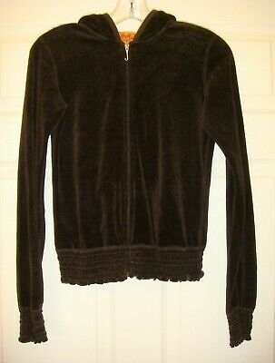 JUICY COUTURE Womens Small Brown Plush Velour Long Sleeve Zip Hooded Jacket