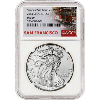 2014-(S) American Silver Eagle - NGC MS69 - Trolley Label