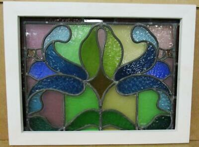 """VICTORIAN ENGLISH LEADED STAINED GLASS WINDOW Colorful Floral 21.25"""" x 16"""""""