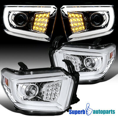For 2014-2018 Toyota Tundra LED DRL Projector Headlights Turn Signal Lamps