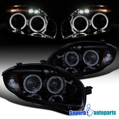 For 2006-2011 Eclipse LED Eyelid Halo Projector Headlights Glossy Black/Smoke