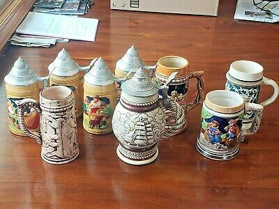 Vintage German Style Beer Steins Lot of (9) ~ Ceramic