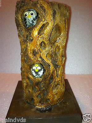 Owls in Cactus Branch Figure + Stone Owls Peeking out of Hollowed Log on Stand