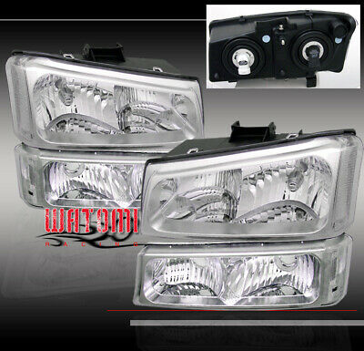 03-06 Chevy Silverado Crystal Head Lights +Bumper 04 05