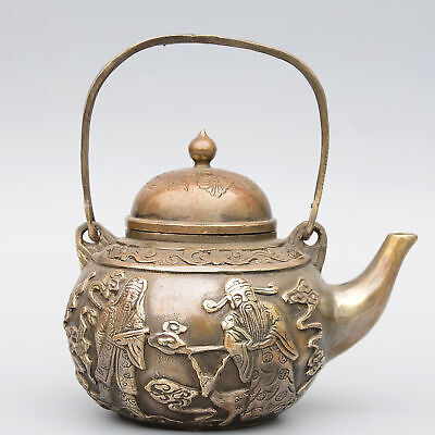 Collectable China Old Bronze Hand-Carve Immortal Moral Auspicious Noble Tea Pot