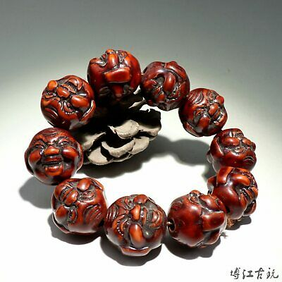 Collect China Old Resin Hand-Carved Happy Buddha Moral Exorcism Decor Bracelet