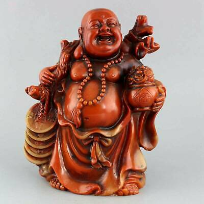 Collect Old Shoushan Stone Hand-Carved Happy Buddha & Wealth Bring Luck Statue