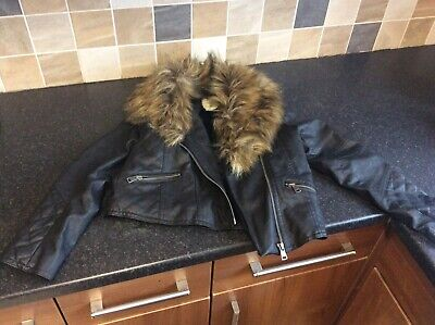 GIRLS BLACK FAUX LEATHER JACKET MATALAN AGE 10-11 years with detached collar