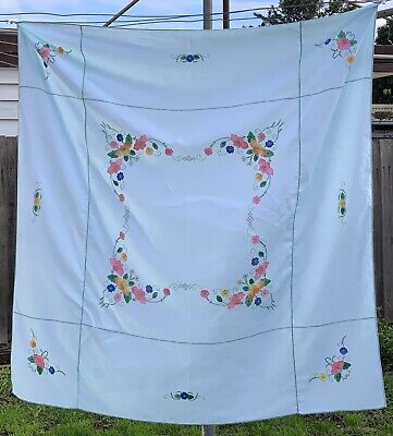 Vintage mint green cotton tablecloth floral hand embroidered appliqué